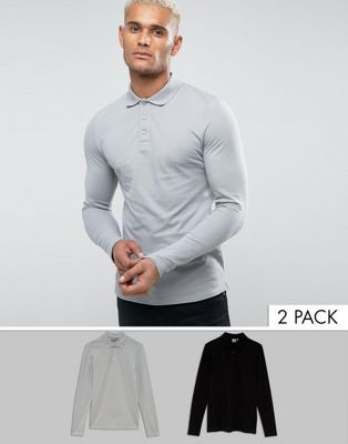 Image 1 of ASOS Muscle Fit Long Sleeve Polo In Pique 2 Pack SAVE