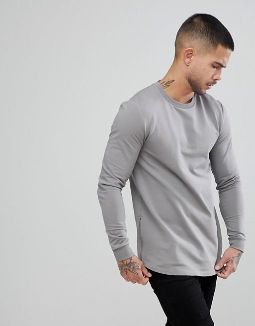 Muscle Sweatshirt amp; With Curved In Zips ASOS Longline Gray Side ASOS Hem qn5xfaZt5
