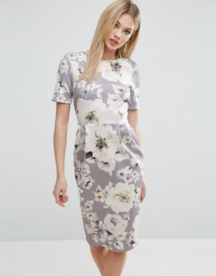 Image 1 of ASOS Occasion Floral Print Pencil Dress