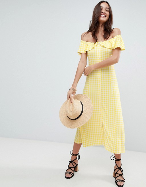 Image result for ASOS Off Shoulder Button Through Midi Sundress in Gingham
