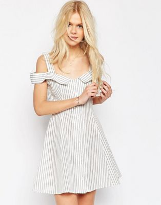 Image 1 of ASOS Off Shoulder Button Through Mini Sundress