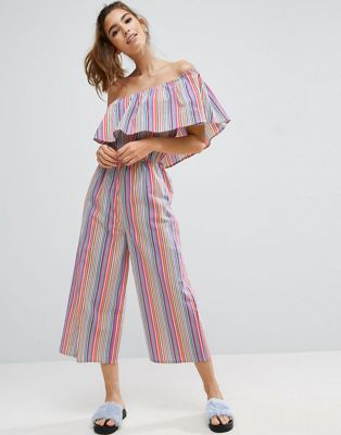 Image 1 of ASOS One Shoulder Jumpsuit in Multi Stripe