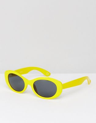 Image 1 of ASOS Oval Sunglasses In Yellow