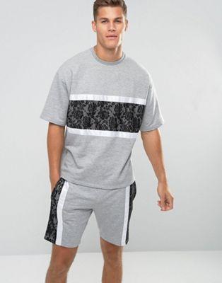 Image 1 of ASOS Oversized Short Sleeve Sweatshirt With Lace Panel