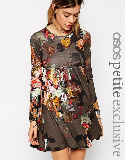 Robe Fleurie Asos Asos Petite Asos Petite Babydoll Dress With Long Sleeves