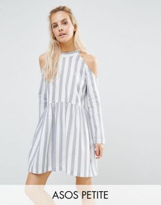 Image 1 of ASOS PETITE Cold Shoulder Cotton Stripe Smock Dress