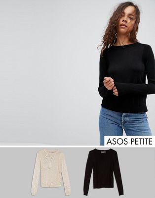 ASOS PETITE Jumper With Crew Neck And Panel Detail 2 Pack