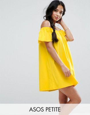 Image 1 of ASOS PETITE Off Shoulder Mini Dress