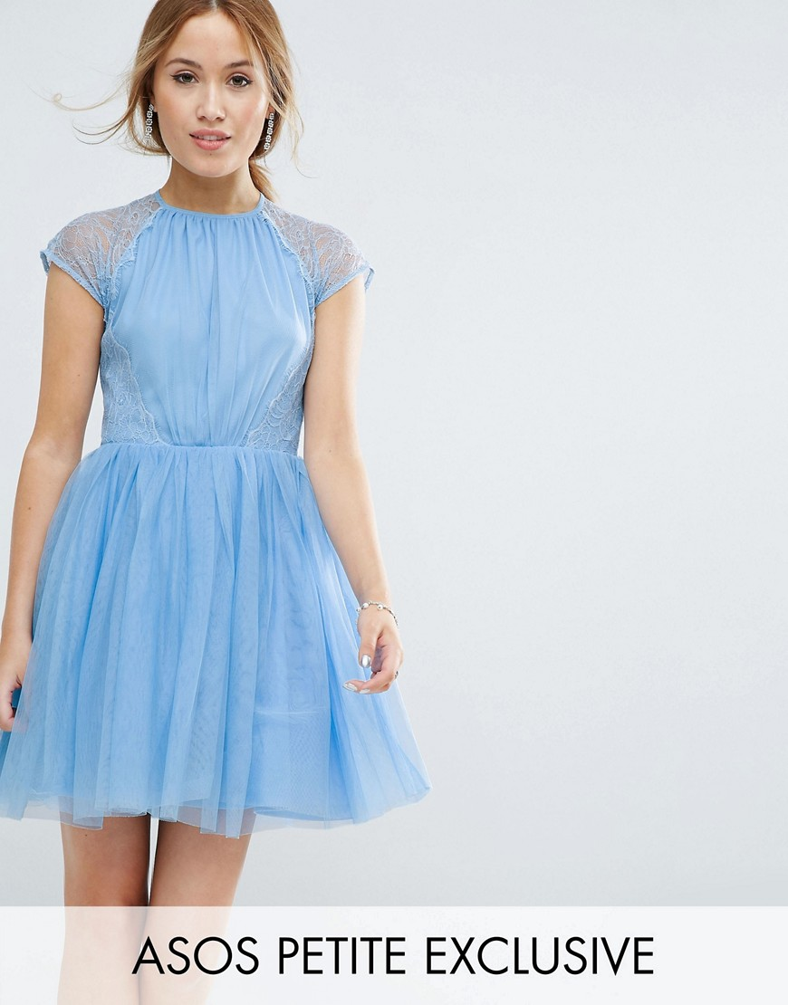 PREMIUM Lace Tulle Mini Prom Dress - Sugar blue Asos