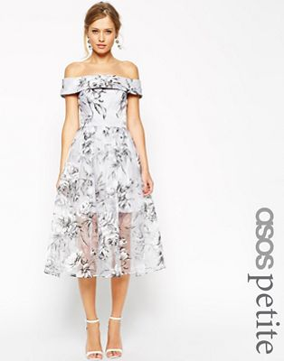 Image 1 of ASOS PETITE SALON Bardot Dress In Organza Floral Midi