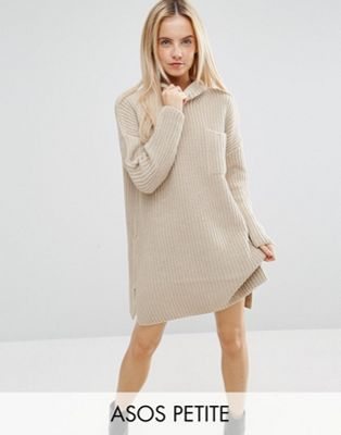 Image 1 of ASOS PETITE Swing Dress in Rib Knit with Top Pocket