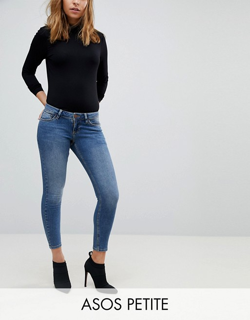 PETITE - Whitby - Jean skinny taille basse - Délavage taupe foncé Andie