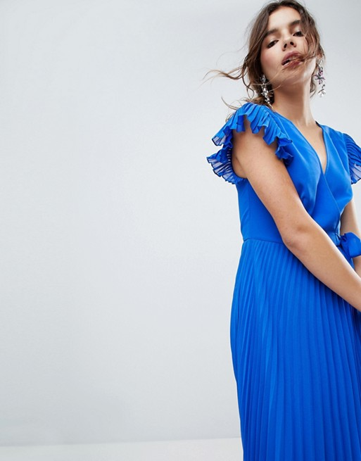 Maxi ASOS with Dress Flutter Sleeve Pleated ASOS xBqw4A