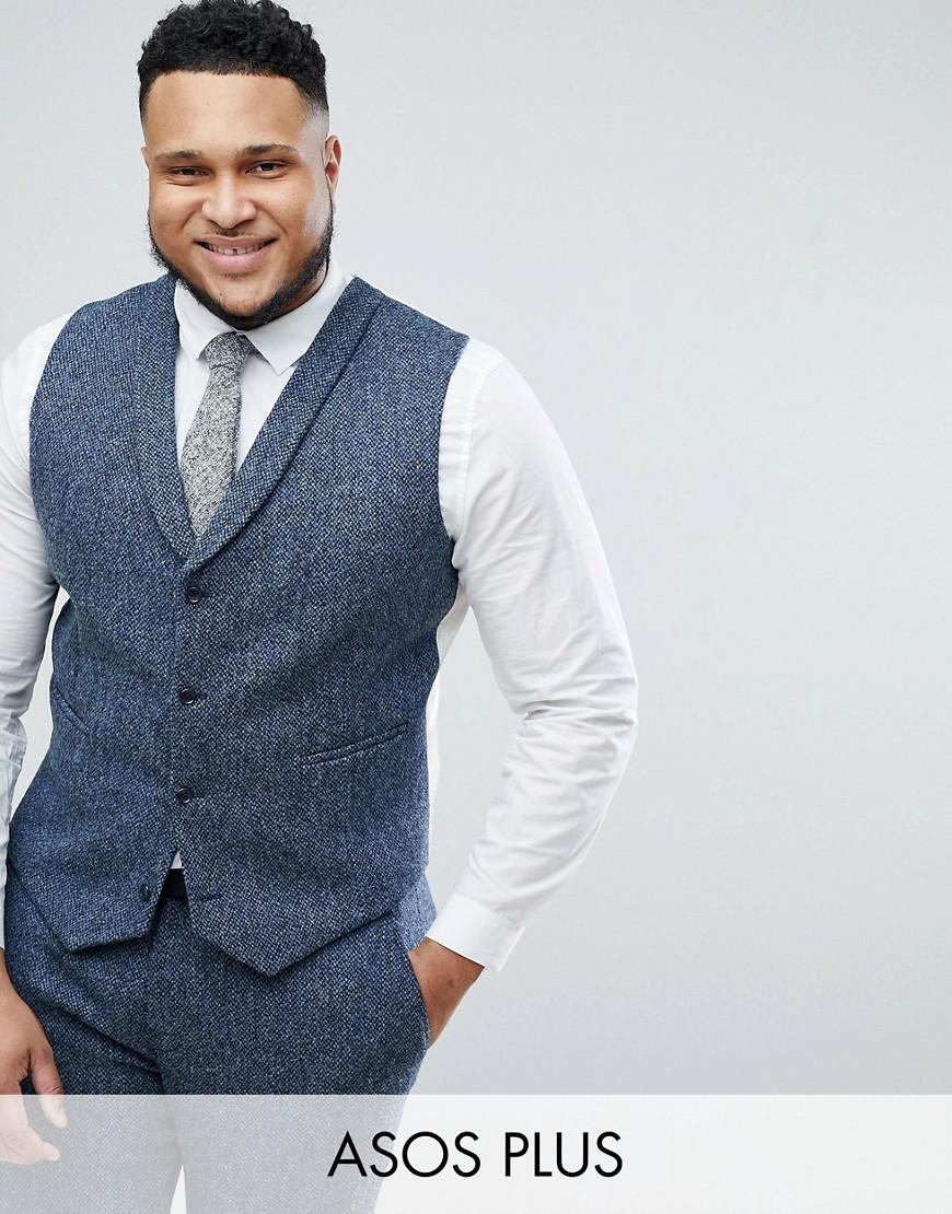 PLUS Slim Suit Waistcoat in 100% Wool Harris Tweed In Blue Mini Check - Blue Asos
