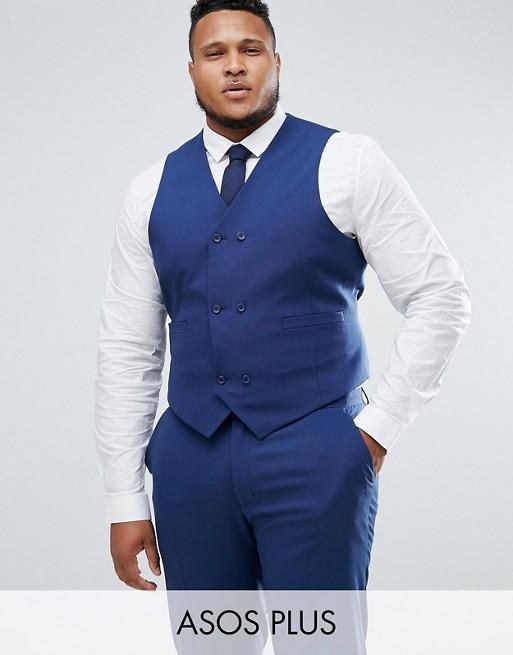 PLUS Wedding - Veston de costume ajusté croisé avec doublure imprimée - Bleu marine