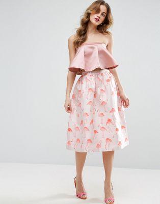 Image 1 of ASOS Prom Skirt in Flamingo Jacquard