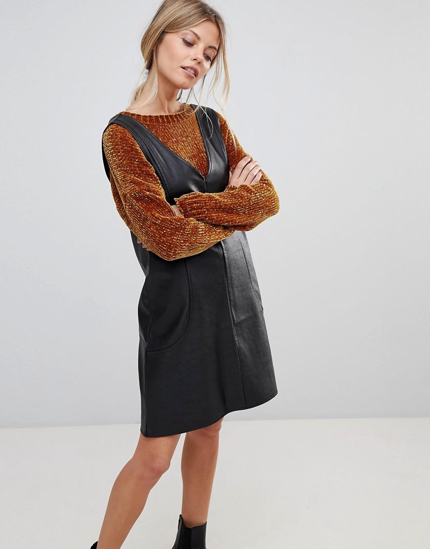 PU V Neck Mini Shift Dress - Black Asos