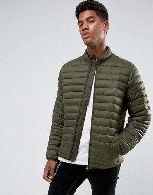 Image 1 of ASOS Quilted Jacket with Funnel Neck in Khaki