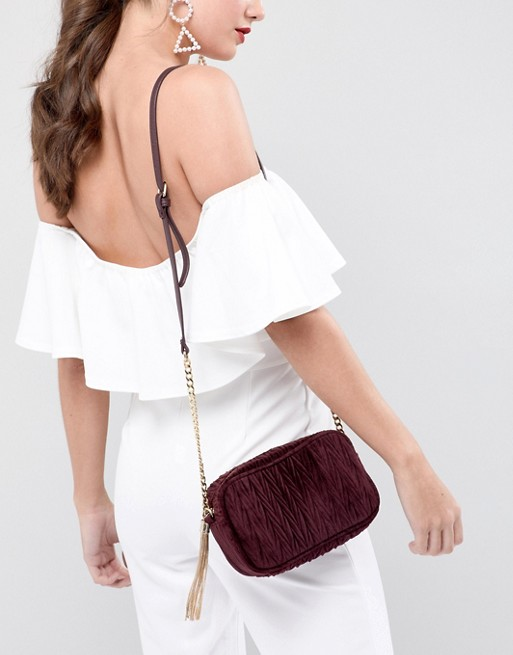 Image result for ASOS Quilted Velvet Camera Bag With Tassel