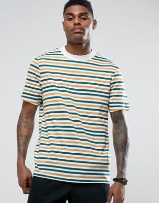 Image 1 of ASOS Relaxed Stripe T-Shirt With Deep Neck Trim In Slub Fabric