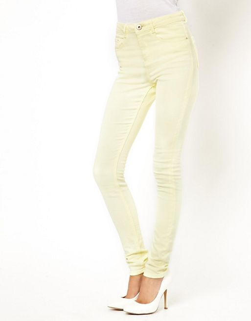 Image 1 of ASOS Ridley Supersoft High Waisted Ultra Skinny Jeans in Lemon