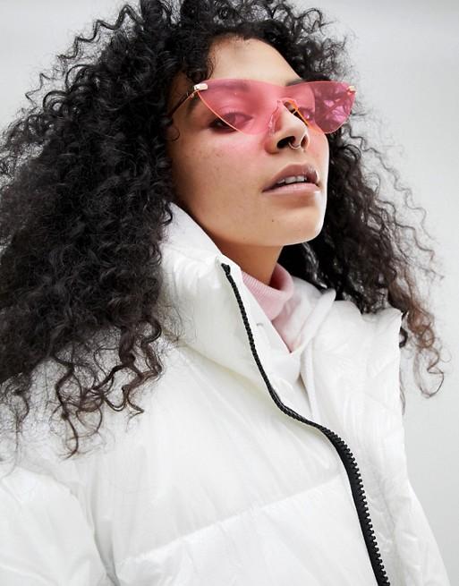 Rimless Cat Eye Fashion Sunglasses In Bright Pink Lens - Pink Asos vA0JJFb2