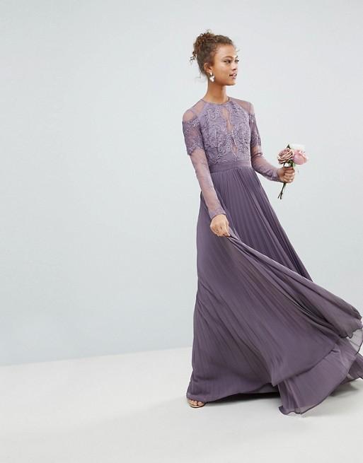 En Ligne En Édition Limitée Images En Ligne ASOS - ASOS - Robe longue plissée de demoiselle d'honneur avec dentelle et manches longues Ebay Vente En Ligne Afin Sortie RV6Rdw