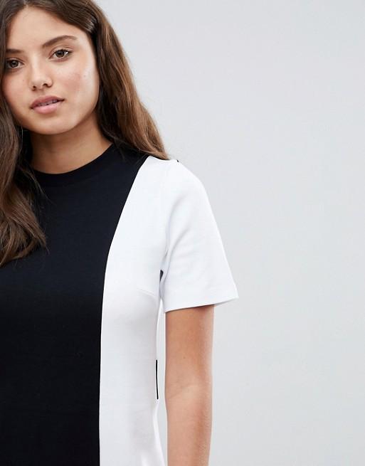 Magasin De Sortie À Vendre ASOS - ASOS - Robe t-shirt color block - Noir et blanc Vente Nicekicks CRem6lM