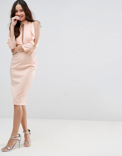 Dress Blouson Midi Trim ASOS Split Sleeve ASOS Scuba 4tAwqx0