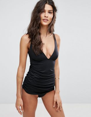 Image 1 of ASOS 'Sculpt Me' Control Gathered Waist Supportive Swimsuit