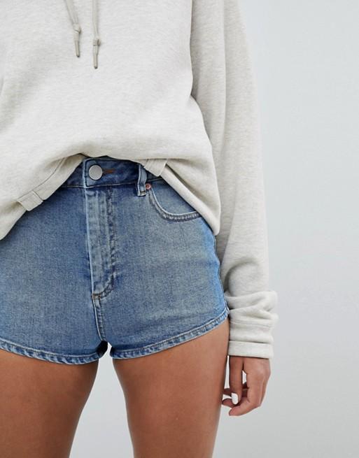 Short en jean taille haute - Bleu moyen
