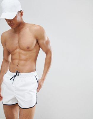 Image 1 of ASOS Short Length Runner Swim Shorts In White