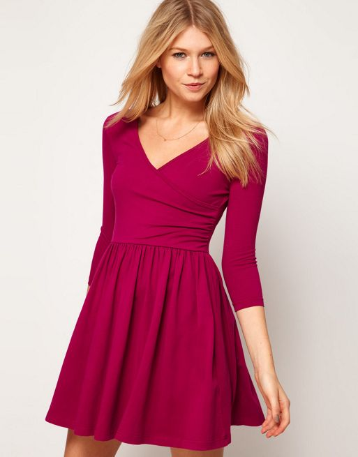 Image 1 of ASOS Skater Dress With Ballet Wrap and 3/4 Sleeve