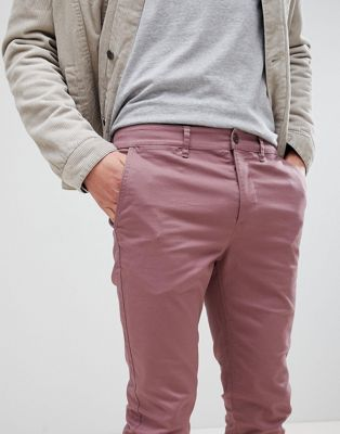 Image 1 of ASOS Skinny Chinos In Purple Taupe