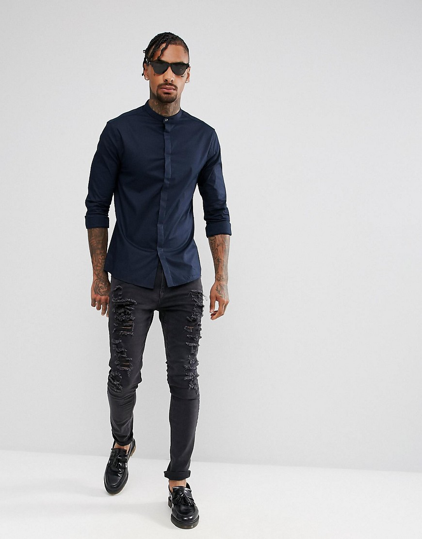 Asos Skinny Shirt With Grandad Collar And Popper In Navy by Asos