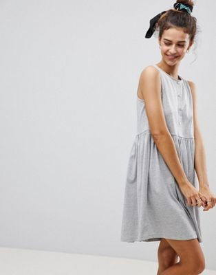 Image 1 of ASOS Sleeveless Button Smock Dress