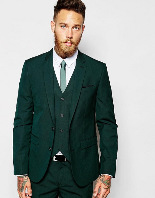 ASOS | ASOS Slim Fit Suit Jacket In Dark Green