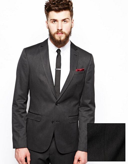 Image 1 of ASOS Slim Fit Suit Jacket In Fine Stripe