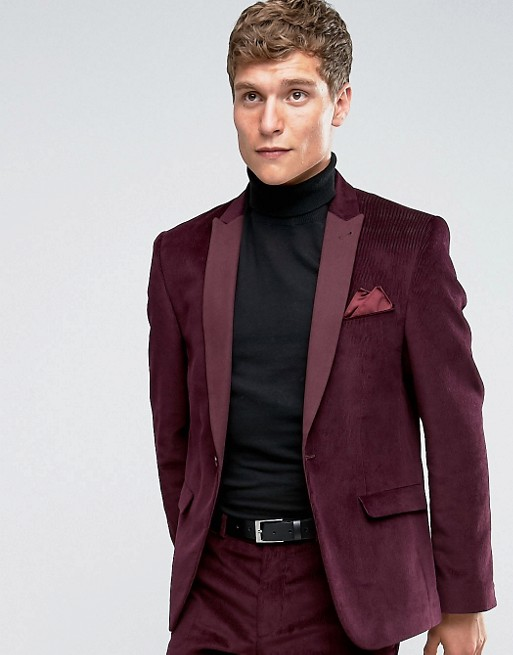 ASOS | ASOS Slim Suit Jacket in Burgundy Velvet Cord