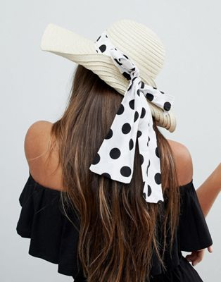 Image 1 of ASOS Straw Floppy Hat with Polka Dot Bow Detail and Size Adjuster