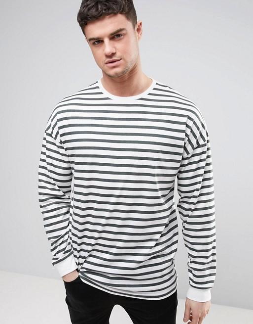 Asos Asos Stripe Oversized Long Sleeve T Shirt With