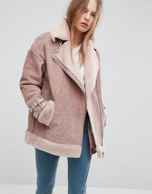 Image 1 of ASOS Suede Aviator with Faux Shearling