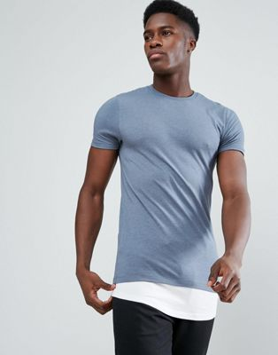 Image 1 of ASOS Super Longline Muscle T-Shirt With Contrast Hem Extender