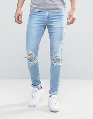 Image 1 of ASOS Super Skinny Jeans With Zip Knee Rips In Bleach Blue