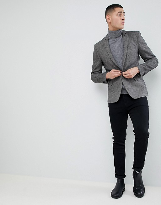 Skinny Texture ASOS Blazer Mix ASOS Super Dark In Wool Gray EqRRfUwx
