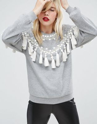 Image 1 of ASOS Sweatshirt With Fringing And Embellishment