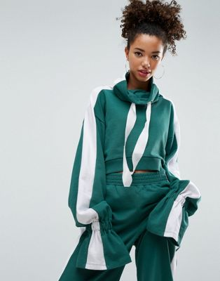 Image 1 of ASOS Sweatshirt with Funnel Neck and Flared Cuff