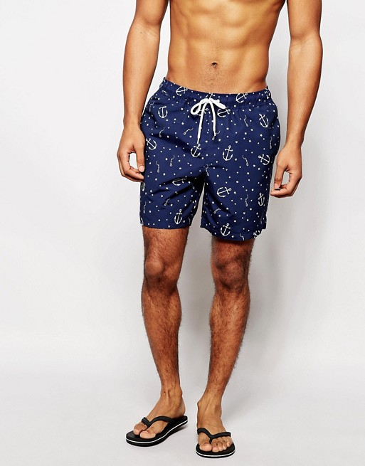 Home; ASOS Swim Shorts With Anchor Print In Mid Length. image.AlternateText