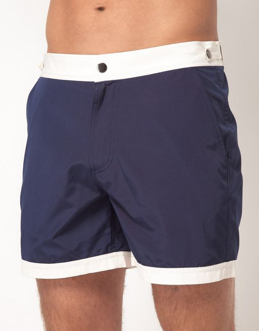 Image 1 of ASOS Swim Shorts With Contrast Waistband And Hems In Short Length