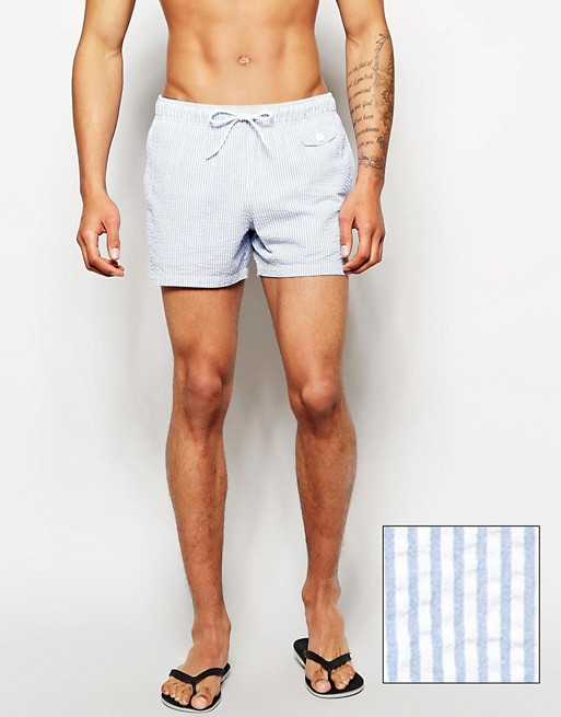 Home; ASOS Swim Shorts With Seersucker Stripe In Short Length.  image.AlternateText